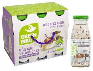 Lốc Green Bird - Nước Yến Sào và Hạt Chia (Hộp 6 chai x 185ml)