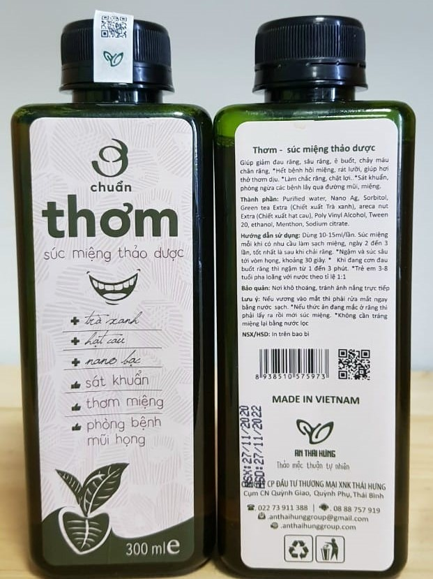 Nước súc miệng thảo dược An Thái Hưng 300ml (Cần tìm đại lý phân phối ck cao Hotline 0934449922)