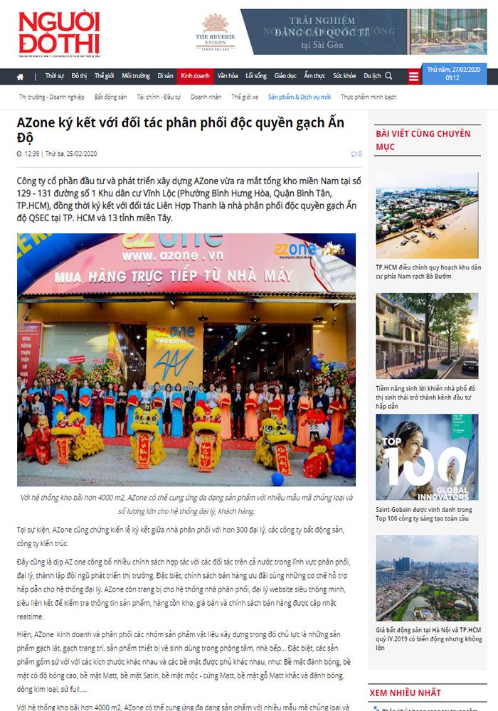 Báo Người Đô Thị viết về AZONE ký kết với đối tác phân phối độc quyền gạch Ấn Độ