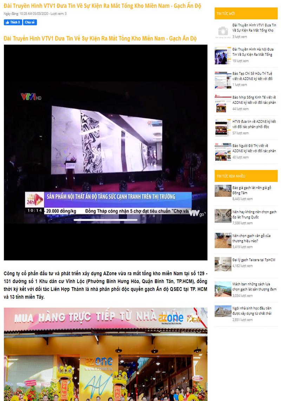 Đài Truyền Hình VTV1 Đưa Tin Về Sự Kiện Ra Mắt Tổng Kho Miền Nam - Gạch Ấn Độ