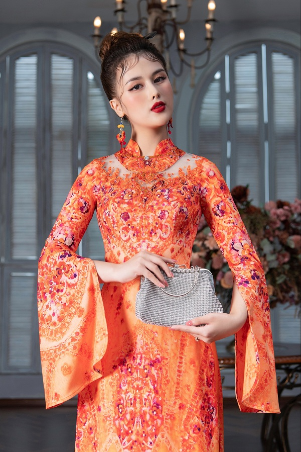 Một số mẫu áo dài thêu đính và  kết cườm đẹp và ấn tượng