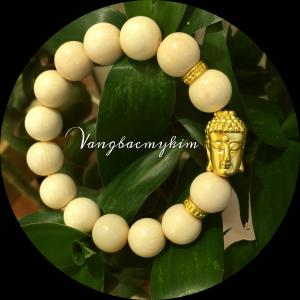 Vòng Ngà voi thiên nhiên mix charm Phật vàng 24k 999,9