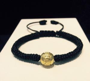 vòng dây tết đen charm úmani vàng 24k