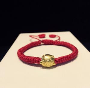 Vòng dây tết charm Mèo thần tài vàng 24k 999,9