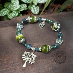 Vòng đá mắt mèo xanh + Thạch anh ưu linh thiên nhiên mix bạc cao cấp