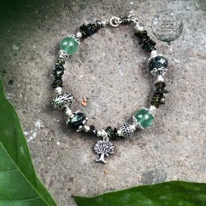 Mẫu vòng đá Ruby nam phi + tourmaline + Thạch anh dâu xanh thiên nhiên