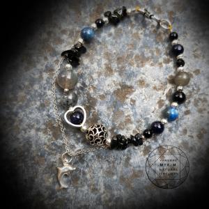 Mẫu vòng đá Tourmalin + Kyanit + Thạch anh tóc đen và đá Mặt trăng