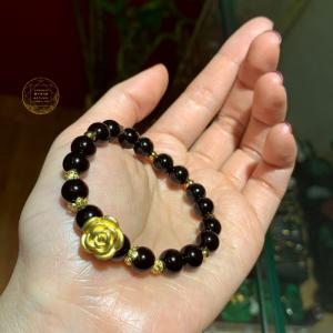 Vòng đá Tektit - Hoa hồng bạc mạ vàng 24k cao cấp