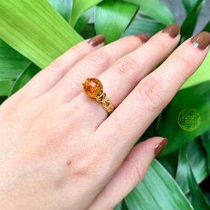 Nhẫn hổ phách ong vàng vip bọc vàng tây