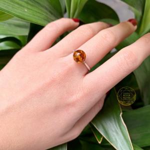 Nhẫn hổ phách ong vip bọc bạc cao cấp si vàng trắng 18k