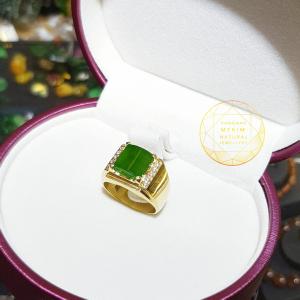 Nhẫn nam ngọc bích bọc vàng cao cấp