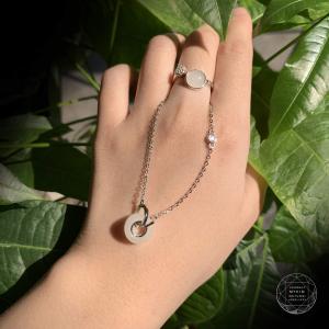 Bộ dây chuyễn + nhẫn Bạch Ngọc bọc bạc cao cấp si vàng trắng 18k