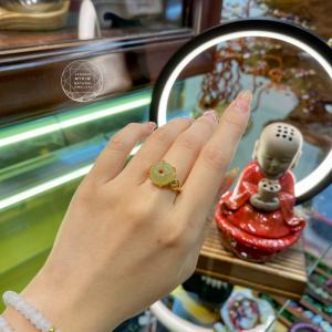 Nhẫn Ngọc Hetian - Bạc si vàng 18k
