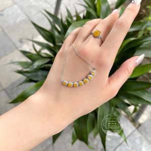Set dây  chuyền và Nhẫn Ngọc Phỉ Thúy Myanmar - Bạc si vàng trắng 18k
