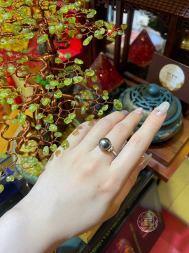 Nhẫn Ngọc Trai Đen Vàng trắng 14k - 18k