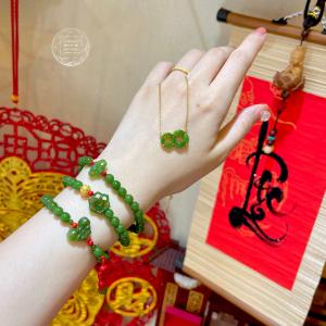 Chuỗi Ngọc Bích - Nephrite Jade + San Hô & Vàng 24k