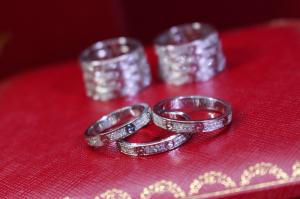 Nhẫn  Cartier Vàng trắng 18k - Đính kim cương thiên nhiên