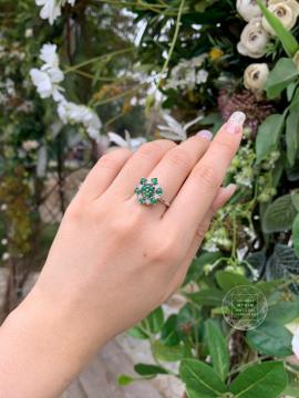 Nhẫn Bông Tuyết xoay - Ngọc Phỉ Thúy - Bạc si vàng trắng18k