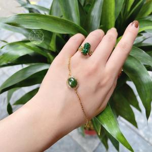 Lắc tay Ngọc Bích NEPHRITE - Bọc vàng 10k