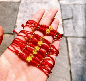Dây chỉ đỏ Mix Vàng 24k - Hoa Hồng