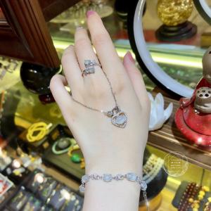 Lắc tay Băng Ngọc Phỉ Thúy - Bạc si vàng 18k