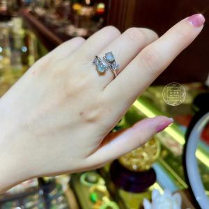 Nhẫn Băng Ngọc Phỉ Thúy - Bạc si vàng trắng 18k