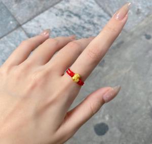 Nhẫn chỉ đỏ Mèo Thần Tài 24k