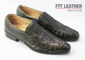 Giày da cá sấu - giày da nam - Lưng cá sấu - Màu đen