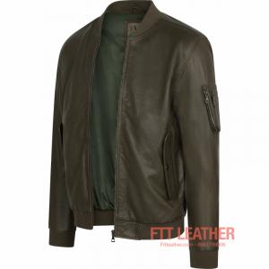 Áo da dê dáng Bomber Màu xanh Green- 5002D06 - S2018