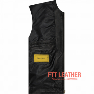 Áo da nam Motorcycle Jacket màu đen - sọc trắng dọc thân U5