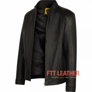 Áo da dê Racer Jacket màu hạt dẻ - LX U4