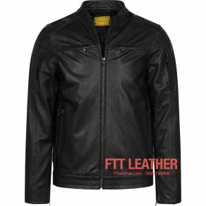 Áo da Motorcycle Jacket – Màu đen da dê