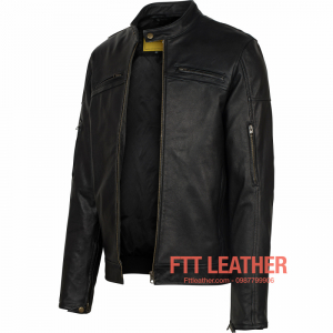 Áo da Motorcycle Jacket – Màu đen có túi khóa bắp tay