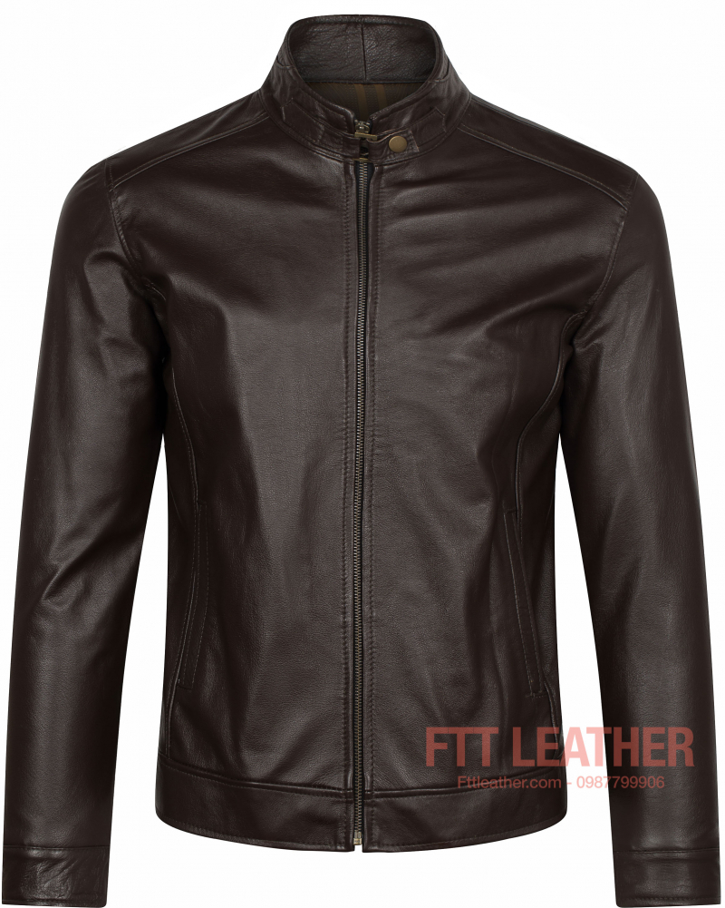 ÁO DA BÒ RACER CHOCOLATE - FTT LEATHER