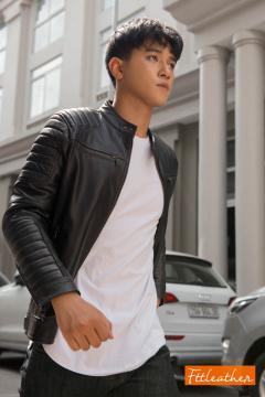 Áo da dê Motorcycle Jacket màu đen - 3022D40 - A2017