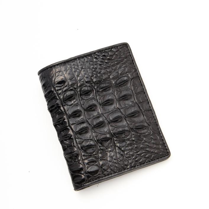 Ví nam da cá sấu đứng màu đen 1 mặt cá sấu Việt 1 mặt - FTT leather