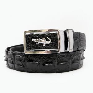 Thắt lưng cá sấu nối đen mặt trắng  (Cá sấu Việt,Cá sấu Thái nối,Cá sấu Thái liền)