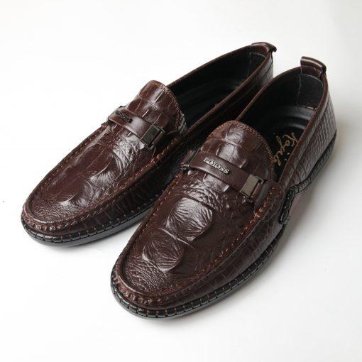 Giày lười nam da bò dập vân cá sấu độc đáo F029541