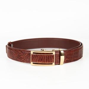 [Cá sấu Thái] Thắt lưng nam cá sấu mặt vàng trơn (Màu nâu sáng may viền)