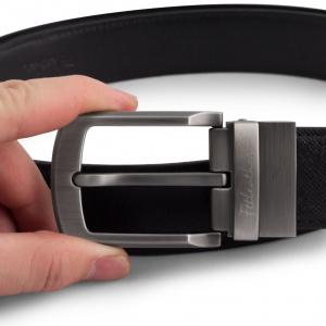 1. Thắt lưng da bò mặt xoay 360 dây da bò đen dây Epsom- S0140
