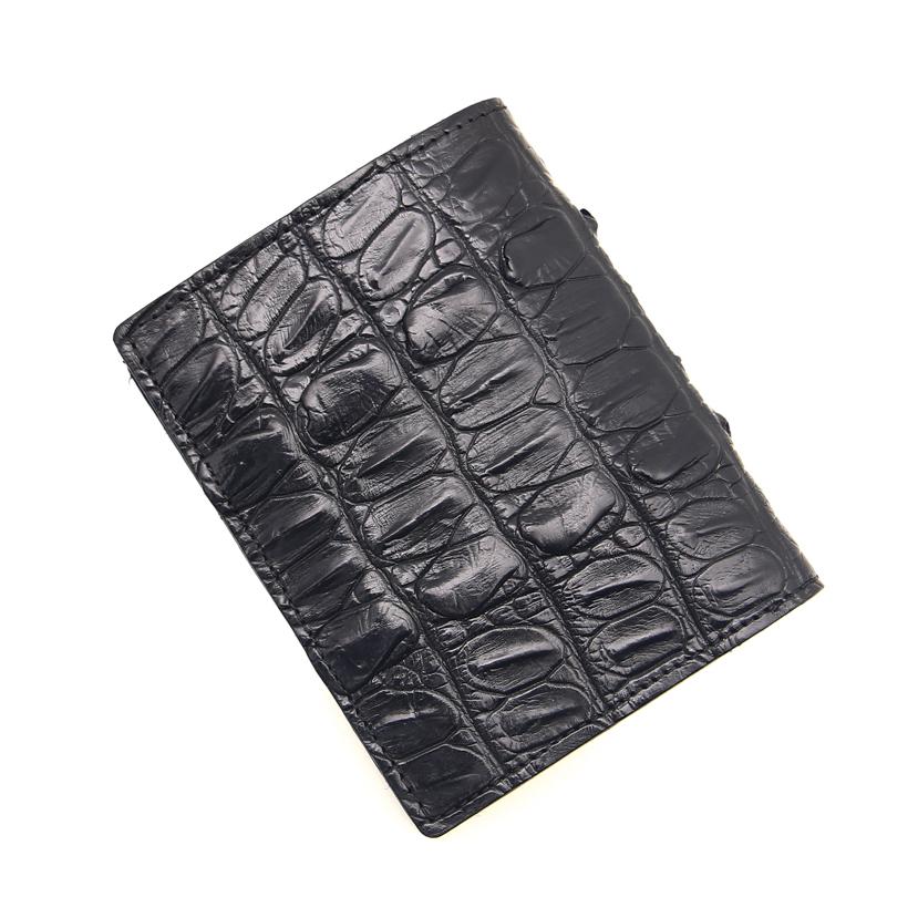 Bóp da cá sấu - Loại 1 mặt - Màu hạt đen da lưng FTT leather