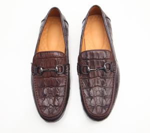 Giày lười da cá sấu - FTT LEATHER màu nâu cafe