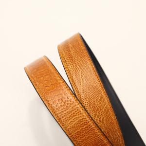 Thắt lưng da đà điểu Thái Lan - bản nhỏ - mặt bạc - màu nâu cam