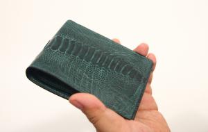 Ví da đứng - ví da đà điểu - loại 1 mặt - màu xanh lá cây đen - 95A06