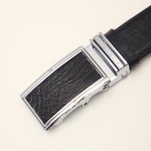 Dây lưng da đà điểu - mặt bạc - dây màu đen- bản 3.5cm