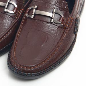 Giày lười nam dập vân cá sấu S2021 màu nâu -F029641 FTT Leather