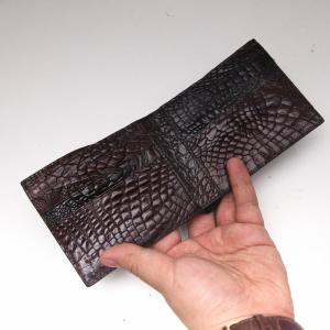 Ví nam da cá sấu- Dáng ngang màu đen 2 mặt cá sấu Thái - S94A41HB