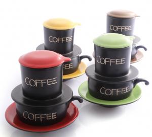 Bộ phin pha cà phê gốm Bát Tràng (màu sắc)